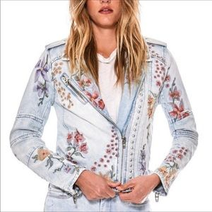 Blank NYC Embroidered Studded Moto Jean Jacket